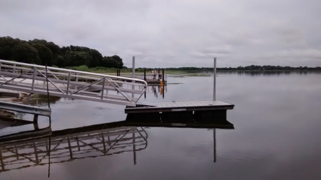 Little boat dock is floating-not on bottom