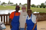 Jerry Echols, Club Pres and regular cooks, Robert Edmonson and wife, Darlene.