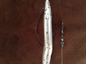 Fluke Hooked Thru Side - Barrel Swivel - Tiny Weight - 30# Braid - 8# Mono
